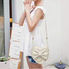 Kikolulu - Faux-Pearl Heart-Shaped Crossbody Bag