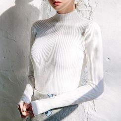 chuu - Mock-Neck Wool Blend Rib-Knit Top