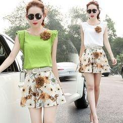 EFO - Set: Frilled Trim Top + Floral Skirt