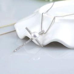 Zundiao - Sterling Silver Cross Pearl Pendant