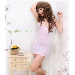 Joy Love Club - Set: Halter Sheer Nightdress + Thong
