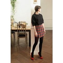 CHERRYKOKO - Asymmetric-Hem Wool Blend Plaid Mini Skirt