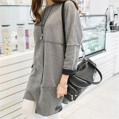 PIPPIN - Asymmetric-Hem Brushed Fleece Dress