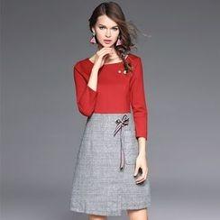 欧依潮派 - 七分袖拼接连衣裙