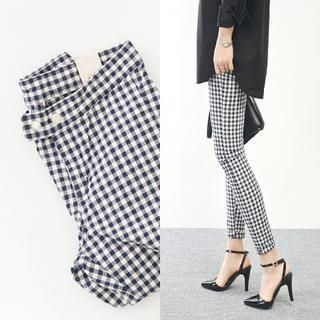 45SEVEN - Cotton Blend Gingham Skinny Pants