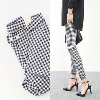 45SEVEN - Cotton Blend Gingham Skinny Pants