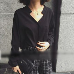 Sheeno - Stand Collar V-Neck Blouse