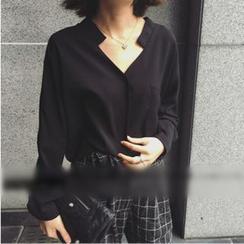 Sheeno - 純色V領襯衫
