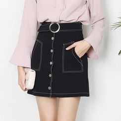 Sens Collection - Buttoned A-Line Skirt