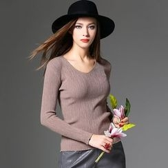 Y:Q - Plain Long Sleeve Knit Top