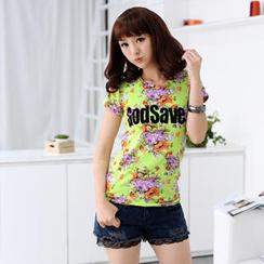 59 Seconds - 'Godsave' Print Floral T-Shirt