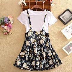 SIDO FASHION - Set: Short-Sleeve T-Shirt + Printed Jumper Skirt