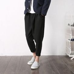 Mrlin - Drawstring Cropped Harem Pants