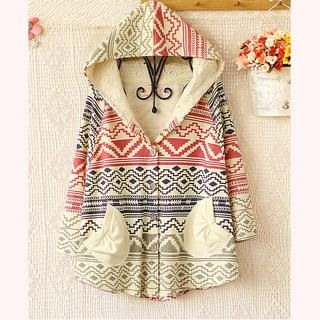 Ringnor - Geometric-Pattern Hooded Cape Jacket
