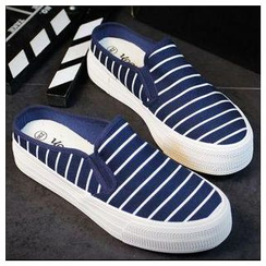 EUNICE - Striped Platform Canvas Slide Slip Ons