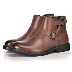 Preppy Boys - Genuine Leather Buckled Ankle Boots