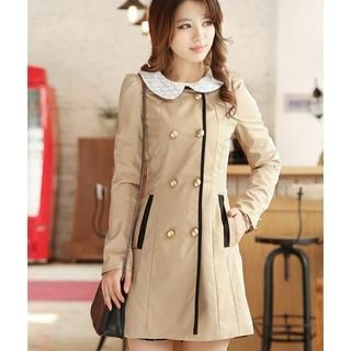 Flower Creek - Lace-Collar Double-Breasted Trench Coat
