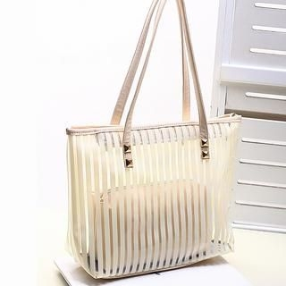 Miss Sweety - Studded Striped Tote with Inner Bag