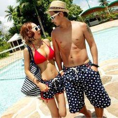 Sunset Hours - Couple Plain Bikini / Star Print Swim Shorts