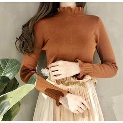 氣質淑女 - 長袖皺摺邊領針織上衣