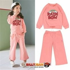 BILLY JEAN - Girls Set: Lettering Beribboned Sweatshirt + Wide-Leg Sweatpants