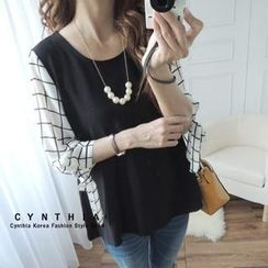CYNTHIA - Check 3/4-Sleeve Top