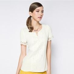O.SA - Short-Sleeve Lace-Trim Chiffon Top