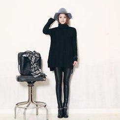 DABAGIRL - Fleece-Lined Wet-Look Leggings