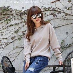 Seoul Fashion - Open-Placket Knit Top