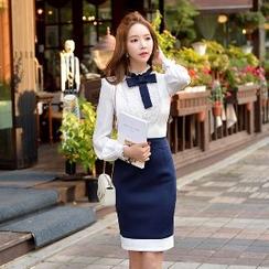 Dabuwawa - Contrast-Color Jumper Skirt