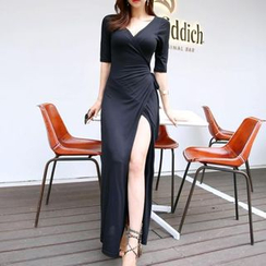 Jolly Club - Elbow-Sleeve Slit-Front Maxi Dress