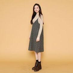 Envy Look - Spaghetti-Strap Pattern Midi Dress