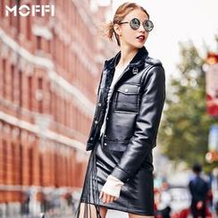 MOFFI - Faux Leather Biker Jacket
