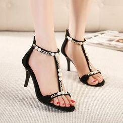Monde - Embellished T-Strap High Heel Sandals