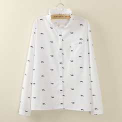 Tangi - Frilled Collar Print Shirt