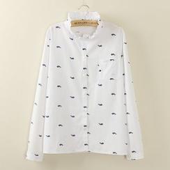 Tangi - Frilled Collar Print Shirt