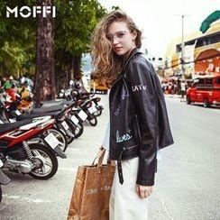 MOFFI - Letter Faux Leather Biker Jacket