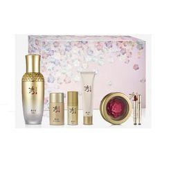 Sooryehan - Ginseng Essence Plum Blossom Set: Essence 50ml + 10ml + First Essence 30ml + Cream 33ml + Plum Blossom Lipstick (Pink) + Lip Brush 1pc