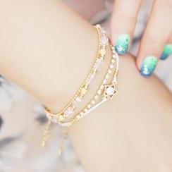 kitsch island - Multi-Strand Rhinestone Star Bracelet