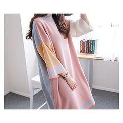 demavie - Drop-Shoulder Color-Block Shift Dress