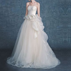 YACCA - Frill Trim Bandeau Wedding Ball Gown
