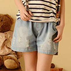 Moriville - Distressed Denim Shorts