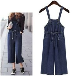VIZZI - Cropped Denim Wide Leg Dungaree