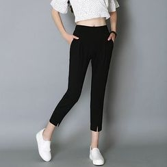 Neeya - High Waist Cropped Front Split Pants
