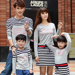 Igsoo - 親子裝長袖條紋 T 恤