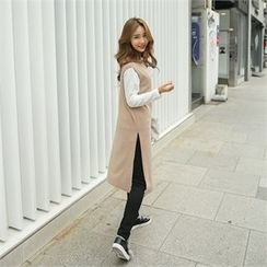 clicknme - Sleeveless Brushed-Fleece Long Top