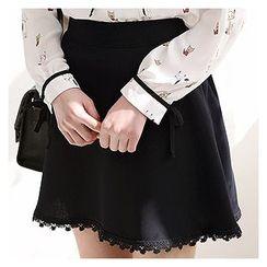 Sechuna - Crochet-Hem Mini A-Line Skirt