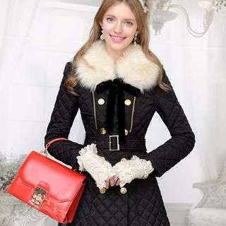 Dabuwawa - Faux-Fur Collar Quilted Coat