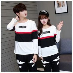 Azure - Matching Couple Lettering Long-Sleeve T-Shirt / Monster Print Sweatpants
