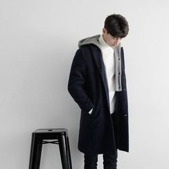 Seoul Homme - Single-Breasted Hooded Coat